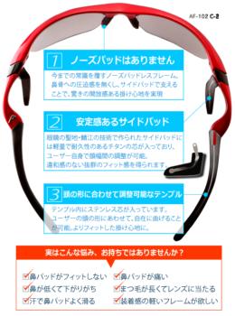 AirFly エアフライ ノーズパッドのないスポーツサングラス Sports Lab. by 岡山眼鏡店 okayamagankyoten